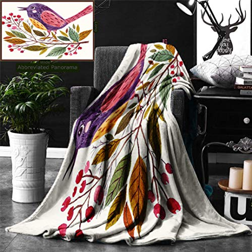 Ralahome Unique Custom Digital Print Flannel Blankets Leaf Decor Watercolor Style Effect A Cute Bird Sitting On A Branch Leaves Pri Super Soft Blanketry Bed Couch, Throw Blanket 60 x 40 Inches