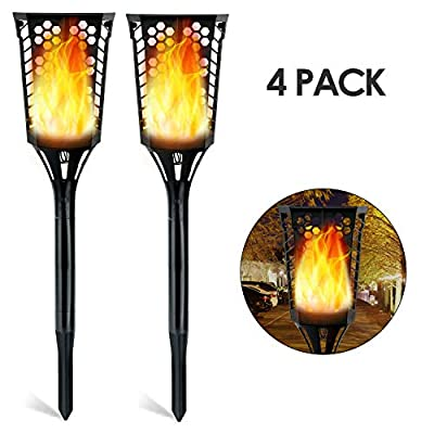 DECKEY Solar Torch Light Dancing Flame Lights Waterproof Outdoor LED Auto On/Off Lighting Bulb for Garden Pathway Courtyard