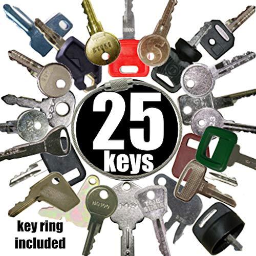 Heavy Equipment Key Set 25 Keys Bobcat CASE Caterpillar GEHL Genie GRADALL Hyundai HYSTER Ingersoll JCB JLG Deere Lull MULTIQUIP Mustang New Holland SKYTRAK Snorkel TEREX Toyota Volvo