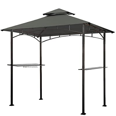 Eurmax 5x8 Grill Gazebo Shelter for Patio and Outdoor Backyard BBQ's, Double Tier Soft Top Canopy and Steel Frame with Bar Counters, Bonus LED Light X2 (Gray) : Garden & Outdoor