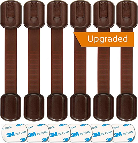 Baby Proofing Safety Cabinet Locks - Child Proof Latches for Drawer Cupboard Dresser Doors Closet Oven Refrigerator - Adjustable Childproof Straps by Oxlay - Brown | 6 Pack -