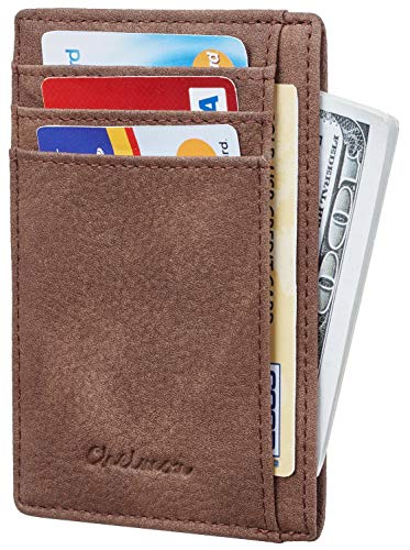 Chelmon Slim Wallet RFID Front Pocket Wallet Minimalist Secure Thin Credit Card Holder (Vinti Coffee)