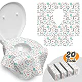 Toilet Seat Covers Disposable - 20 Pack - Waterproof, Ideal for Adults and Kids - Extra Large, Individually Wrapped for Travel, Toddlers Potty Training in Public Restrooms (Dinosaurs, 20)