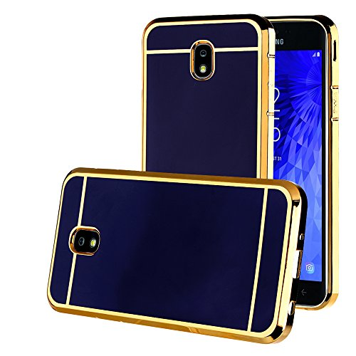 Galaxy J7 Refine/J7 Aero/J7 Top/J7 Crown/J7 Aura/J7 Star/J7 Eon Case, Electroplate Slim Glossy Finish, Drop Protection, Shiny Luxury Case - Royal Blue Gold