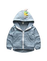 Baby Boys Toddler Long Sleeve Dinosaur Jacket Hoodies Outwear with Zipper Blue