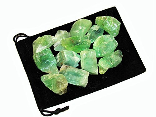 Zentron Crystal Collection: Green Calcite in Velvet Pouch Large Natural Rough Bulk Raw Stones (1/2 Pound)