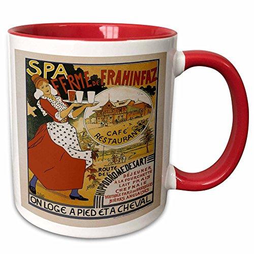 3dRose BLN Vintage Les Maitres de l Affiche Poster - Vintage Spa Ferme de Frahinfax Café Restaurant Advertising Poster - 15oz Two-Tone Red Mug (mug_149333_10) ()
