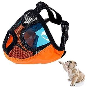 Dog Muzzles for Biting Barking,Adjustable Short Snout Dog Anti Bite Puppy Mesh Muzzle With Eyeglasses Masks For Pitbulls,Pekingese,Tibetan spaniels,Boston Terrier,American English Bulldogs (Medium)
