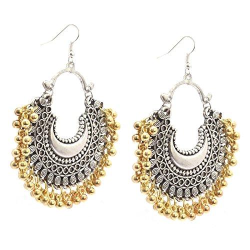 Zephyrr Fashion Oxidized Ethnic Silver/Golden Beaded Chandbali Dangle  amp; Drop Earrings For Women and Girls