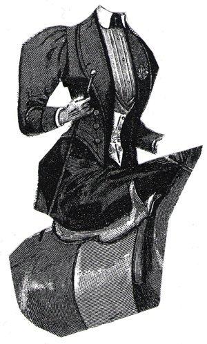 1894 Black Cloth Riding Habit with Vest (Cowboy Vest Pattern)