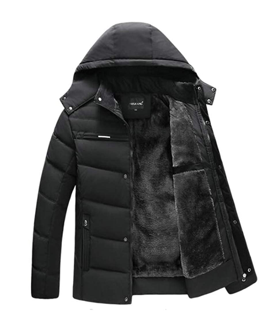 Lutratocro Mens Thicken Jacket Faux Fur Lined Stand Collar Outerwear Hooded Parkas Coat