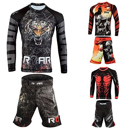 (Roar MMA Rash Guards UFC Fight Training BJJ Grappling No Gi Wear (BLK/Dragon, Small))