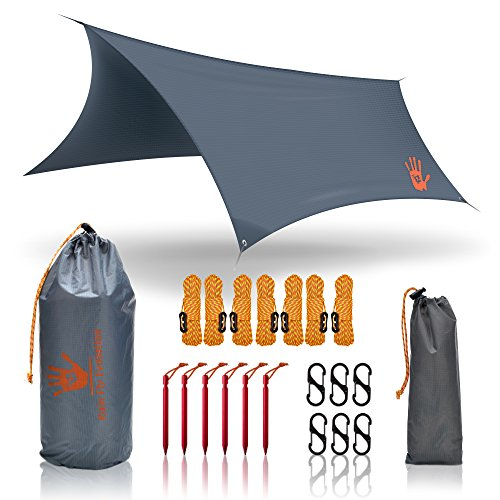 Hiking Rain Fly Tent Tarp Waterproof - Lightweight and Portable, Perfect as a Hammock Shelter or Sunshade - for Camping Tarps, Backpacking and Outdoors -Ripstop Real Nylon - by Rain Fly Evolution