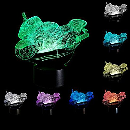 YANGHX 3D illusion Lamp Motorcycle illusion Desk light Novelty USB LED Table Lamp 100~240v Night 7 Color Touch Switch change LED desk table light lamp (Color: Multicolor) (6 Million Dollar Man We Have The Technology)