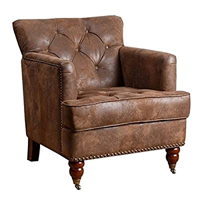 Abbyson Living Misha Tufted Fabric Accent Chair in Antique Brown - Finish: Antique brown upholstery and mahogany legs Materials: wood, birch, and faux leather Button-tufted back and studded border - living-room-furniture, living-room, accent-chairs - 51M8tY2sF1L. SS400  -