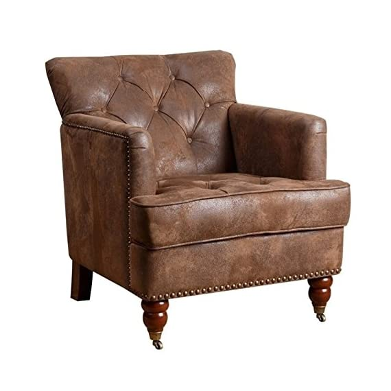 Abbyson Living Misha Tufted Fabric Accent Chair in Antique Brown - Finish: Antique brown upholstery and mahogany legs Materials: wood, birch, and faux leather Button-tufted back and studded border - living-room-furniture, living-room, accent-chairs - 51M8tY2sF1L. SS570  -