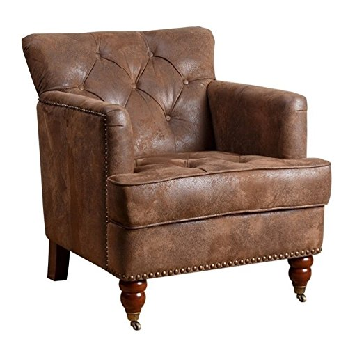 Abbyson Living Misha Tufted Fabric Accent Chair in Antique Brown - Antique Leather Chairs: Amazon.com
