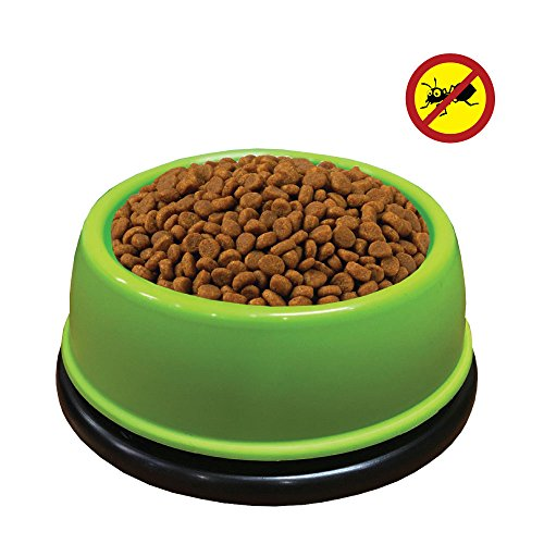 Kanimal No Ants Pet Bowl - Insect-Free Food Feeder for Cats and Dogs, Durable Bowl with Non-Skid Rubber Bottom - Small Green Bowl for Puppies, Cats, Small Dogs 14oz