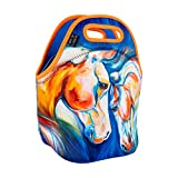 ART OF LUNCH Isulated Neoprene Lunch Bag for Women and Kids, Reusable Soft Lunch Tote for Work and School - Design by Marcia Baldwin (USA) - Heart Twins Equine