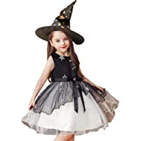 AGENI Kids Halloween Costume Dress with Hat Girls Princess Dress Cosplay Skirt Witch Skirt for Halloween Party Dress Up…