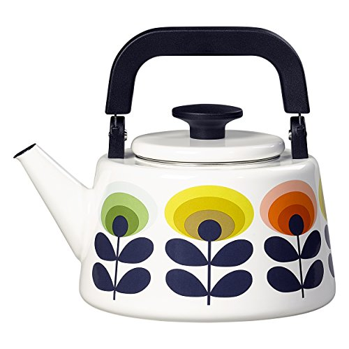 Orla Kiely 70s Oval Flower Multi Tea and Hot Water Enamel Kettle with Heat Resistant Handle, 2 Liter Multicolor
