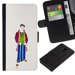 LASTONE PHONE CASE / Lujo Billetera de Cuero Caso del tirón Titular de la tarjeta Flip Carcasa Funda para Samsung Galaxy S5 Mini, SM-G800, NOT S5 REGULAR! / Cool Middle Ages