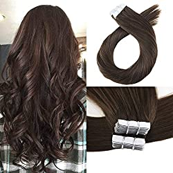 Moresoo 20 Inch Adhesive Hair Extensions Tape on Human Hair 40 PCS 100 Grams #4 Brown Remy Hair Seamless Skin Weft Invisible Tape Hair Extensions Brazilian Hair Extensions Tape in