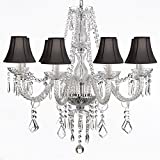 Crystal Chandelier Lighting 28ht X 28wd 8 Lights Fixture Pendant Ceiling Lamp Black Shade Review