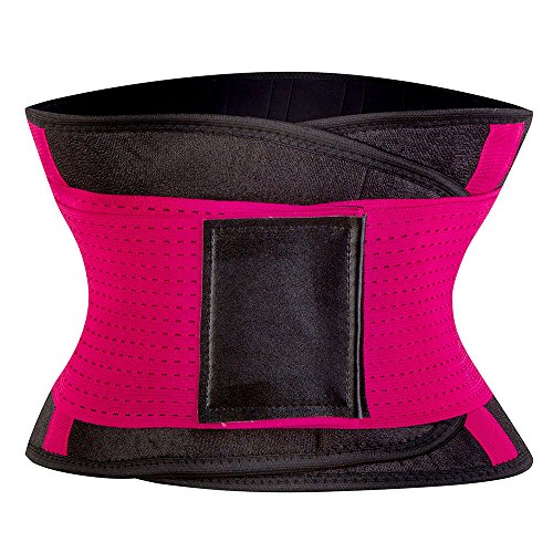 KSKshape Unisex Waist Trimmer Belt Stomach Body Wrap & Back Lumbar Support Small Red