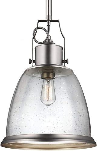 Feiss P1356SN Hobson Glass Pendant Lighting, Satin Nickel, 1-Light 14 Dia x 21 H 75watts
