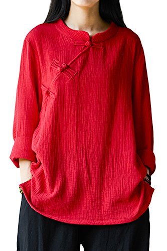 ASHER FASHION Women's Chinese Style Long Sleeve Linen Top Blouses with Split Sides (One Size, Red)