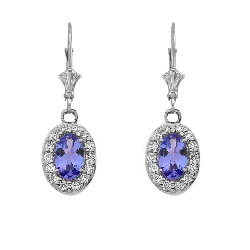 Dazzling 14k White Gold Diamond and Oval-Shaped Tanzanite Leverback Earrings