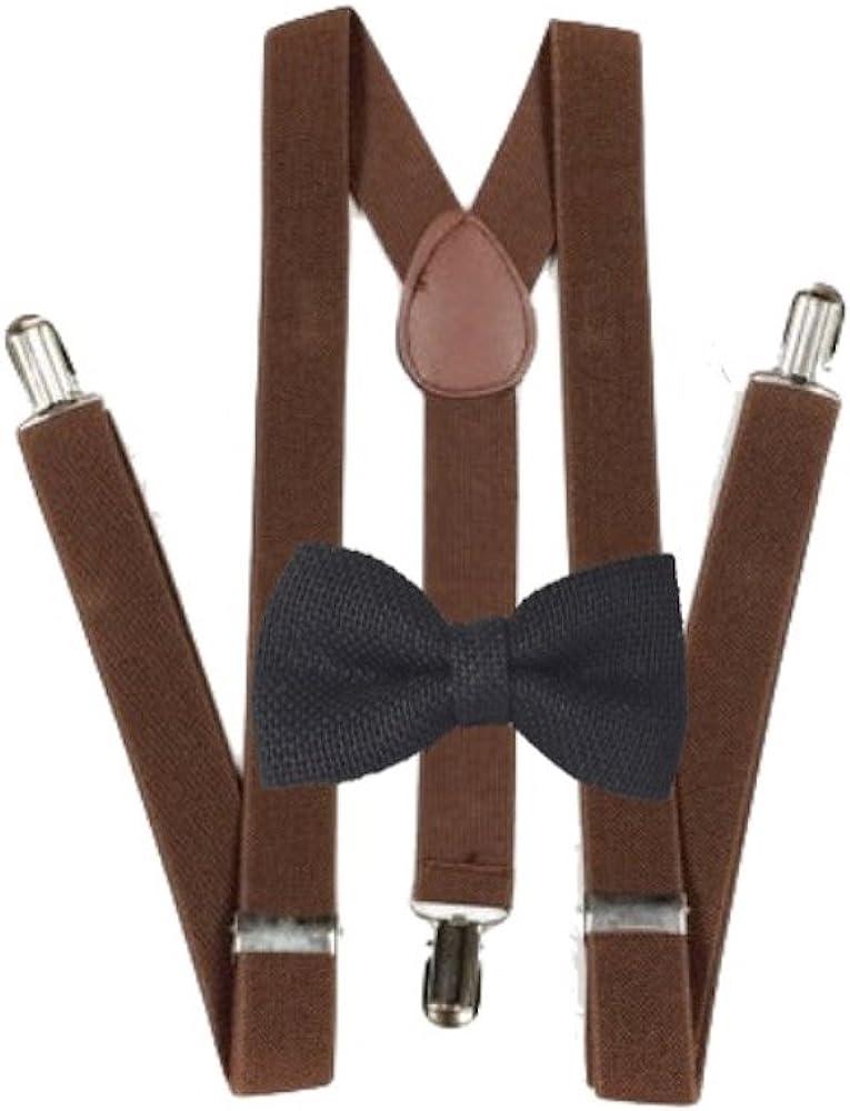 Solid Brown Adjustable Bow tie /& Brown Y-Back Adjustable Suspenders Combo-New!v2