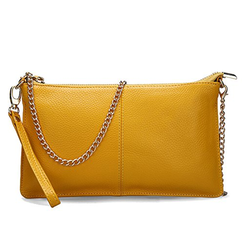 SEALINF Women's Cowhide Leather Clutch Handbag Small Shoulder Bag Purse (yellow chain) -