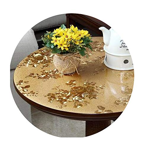 COOCOl Round Table Mat Coffee Tablecloth Scrub Soft Glass PVC Material Waterproof Turntable Table Cover,Rich Flowers,110Cm