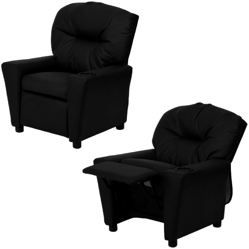 Child Recliner Leather Upholstery Black Padded Tufted Kid's Armchair with Footrest and Cup Holder Foam Cushion Seat Wooden Frame Plastic Legs Recliner for Boys and Girls eBook by Easy&FunDeals