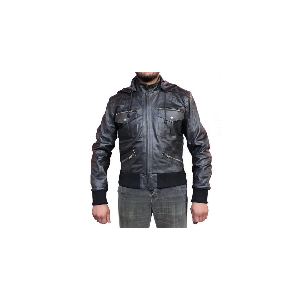 Leather Outfitters Men Hooded Leather Jacket with Rib