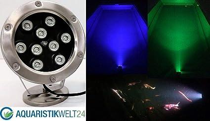 9W LED RGB 12V Teich Pool Unterwasser u.Garten Beleuchtung Lampe aus Edelstahl
