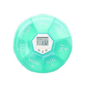 Lauco Pantalla de Tiempo Digital 7 Días píldora Caja Temporizador Drogas Organizador Vitamina contenedor con 4 Grupos Alarma recordatorio y LED luz de ...