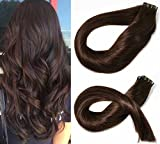 Bleaching Hair Is A Chemical Change - SeaShine Tape in Hair Extensions #2 Dark Brown 100% Remy Human Hair Extensions Silky Straight for Fashion Women 20 Pcs/Package(16Inch #2 30g)