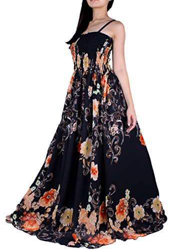 MayriDress Women Black Summer Dress Maxi Plus Size Graduation Chiffon Gift Long (1X, Black/ Orange Floral)