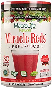 Macrolife Naturals  Miracle Reds Superfood, Non Allergenic, Non GMO, Vegan, Gluten, and Dairy Free Blend (Berry Taste)(10 oz)(30 Servings)