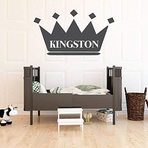 Wall Decal For Kids | Personalized Name King Crown Design | Vinyl Wall Home Decor for Boy's Bedroom, Playroom | Custom Baby Nursery Decoration | Black, White, Gold, Other Colors | Small, Large Sizes