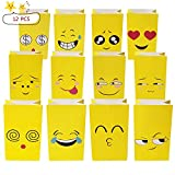 ALUNME12PCS Premium Emoji Paper Bags Kids Birthday Party Favor Emoji Gift Bags for Goodies,Candies,Popcorn,12 Different Emoji Designs