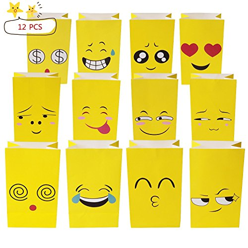 ALUNME12PCS Premium Emoji Paper Bags Kids Birthday Party Favor Emoji Gift Bags for Goodies,Candies,Popcorn,12 Different Emoji Designs by ALUNME