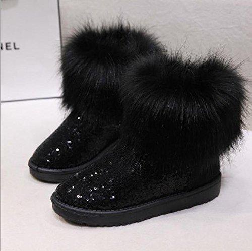 Maybest Women Warm Artificial Fur Snow Boots Paillettes Warm Shoes Soft Sole Shoes Black cptzAb
