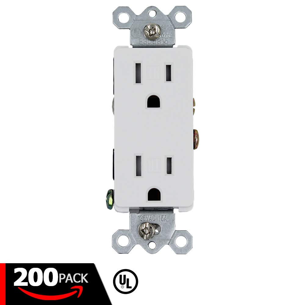 ESD Tech 15A Decora Duplex Receptacle – 200 Pack of Tamper Resistant Electrical Wall Outlets, White, UL Listed, Residential & Commercial Grade, Straight Blade, 2-Pole