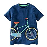 Lonshell_Toddler Clothing Toddler Baby Boys Girls Clothes Short Sleeve Cotton T-Shirt, Cute Cartoon Tops Summer Tee Shirt Kids Casual O-Neck Blouse Pullover for 2-8 Years (Blue, for 5 Years)