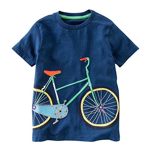 iYBUIA Simple Design Toddler Kids Baby Boys Girls O-Neck Clothes Short Sleeve Cartoon Tops T-Shirt Blous(Dark -