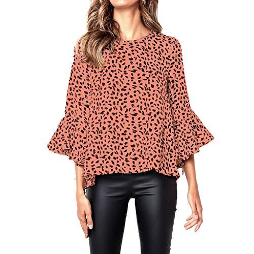 - Lankcook Fashion Women Work Casual Flare Long Sleeve Print Ladies Loose Blouse Tee Shirt Top Orange